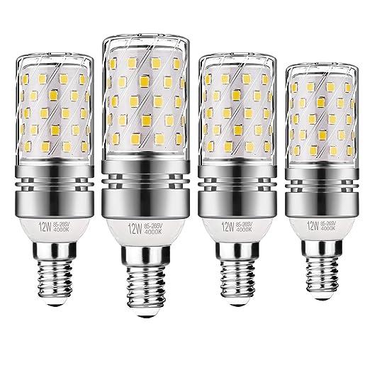 Gezee LED Plata Maíz Bombillas 12W E14 4000K Blanco Frío LED Candelabros bombillas, 100 W