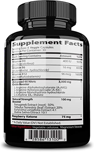 Nitrocut Pre Workout Supplement -120 Capsules – Nitric Oxide Supplements – l arginine – l citrulline – Premium Ingredients – Increase Blood Flow – Boost Muscle Growth