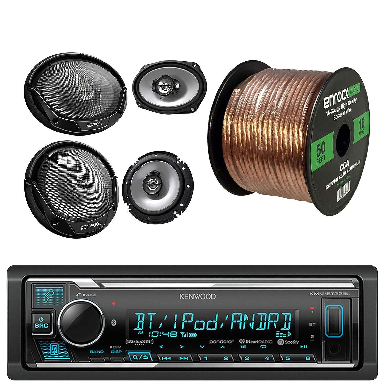 """pair pair Kenwood KMM-BT318U CD//AM//FM receiver Kenwood KFC6965S 6x9/"""" 400W 3-Way-Watt Car Speakers Enrock Audio 16-Gauge 50 Foot Speaker Wire Kenwood KFC1665S 6 1//2 2-Way Car Speakers Kenwood KFC1665S 6 1//2 2-Way Car Speakers pair"""