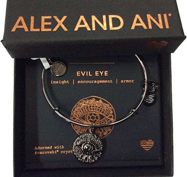 8eea21b11 Amazon.com: Alex and Ani Women's Evil Eye Bangle Midnight Silver One ...