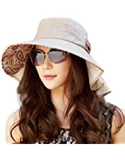 Siggi Ladies Cotton Packable Summer Sun Hat Wide Brim Neck Mask Flap Cord UV UPF 50+ for Women
