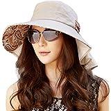 SIGGI Ladies Cotton Packable Summer Sun Hat Wide Brim Neck Mask Flap Cord UV UPF 50+ for Women