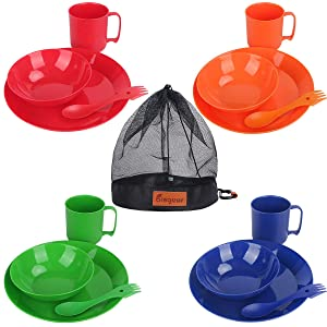 Bisgear Camping Mess Kit - 4 Person Lightweight Dinnerware Family Set with Plates Bowls Cups MugsSporksCarabiner & Mesh Bag - Perfect for Hiking & Backpacking, Picnic, Family Vacation