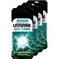 Listerine, Go! Tabs, Comprimidos Masticables Sin Azúcar, Boca Limpia y Fresca, Contra el Mal Aliento, Pack 4x16…