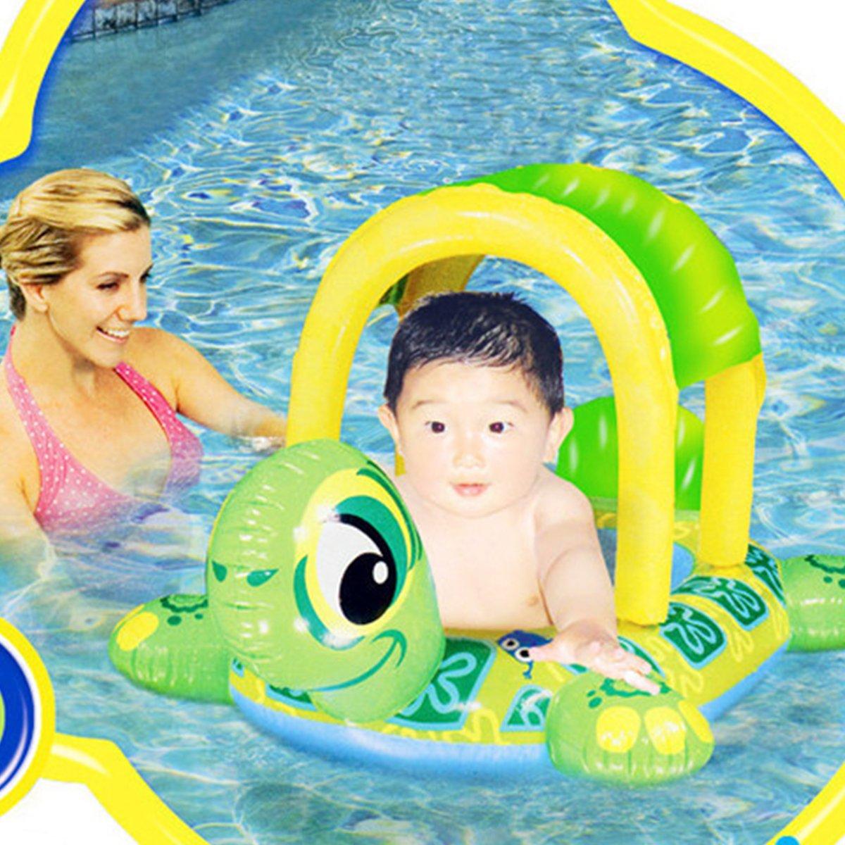 UClever Flotador Tortuga para Bebé con Techo Juguete y Asiento de Piscina de Desarrollo de Nata Natación en Agua para Niño: Amazon.es: Juguetes y juegos