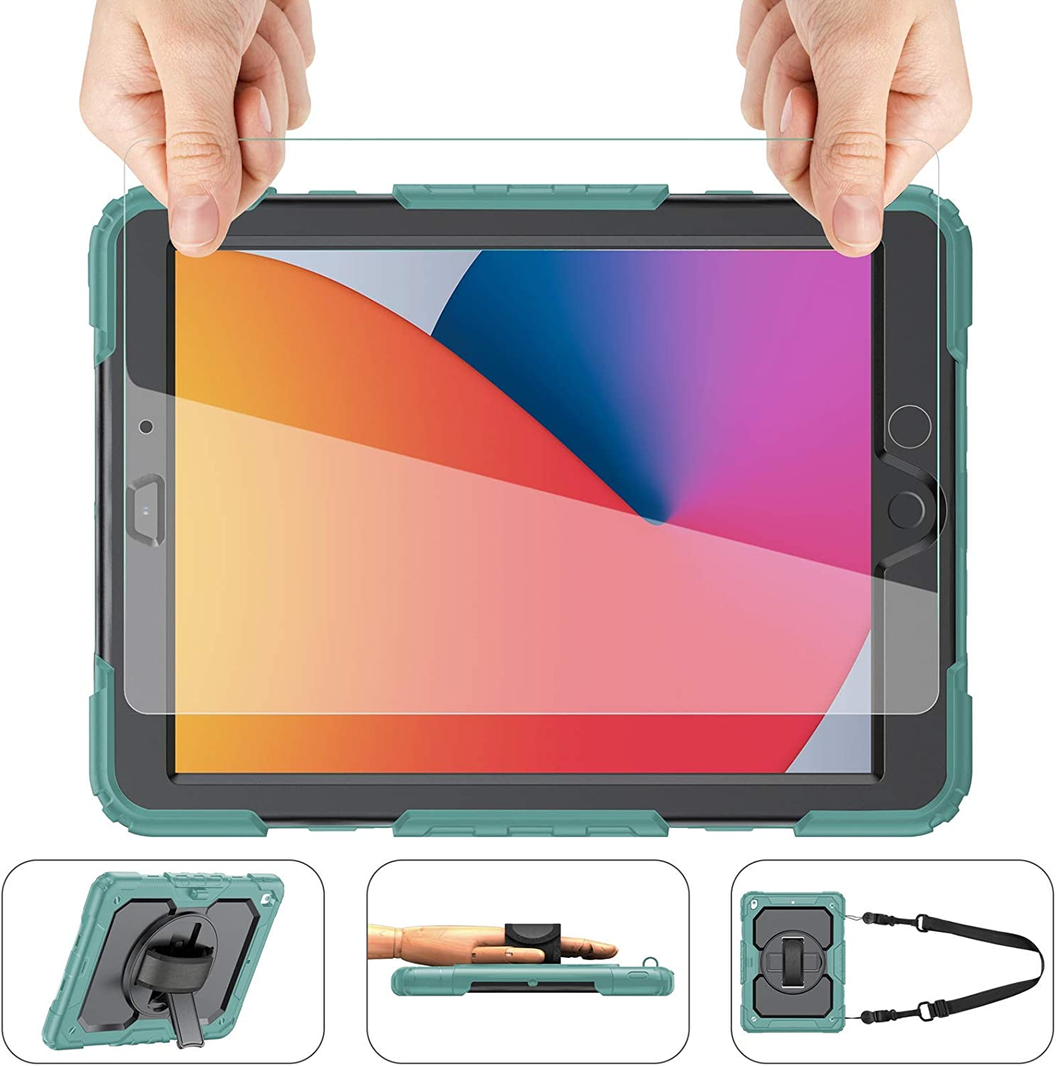 iPad 8th/7th Generation Case, iPad 10.2 Case 2020/2019, [Shockproof] ambison Full Body Protective Case with 9H Screen Protector, Rotatable Kickstand & Hand Strap, Shoulder Strap (Teal & Black)