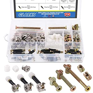 Glarks 125Pcs 3-in-1 Furniture Connecting Hardware Set, Hex Socket Cap Furniture Barrel Screws Bolt Nuts & Cam Fitting & Pre-Inserted Nut & Eccentric Wheel for Crib, Wardrobe Splicing, Cabinet Drawer