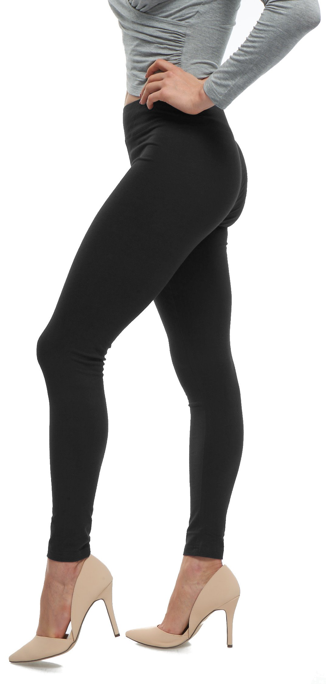 Soft Cotton Full Length High Waisted Workout Leggings - Best Selling Colors - Black Large