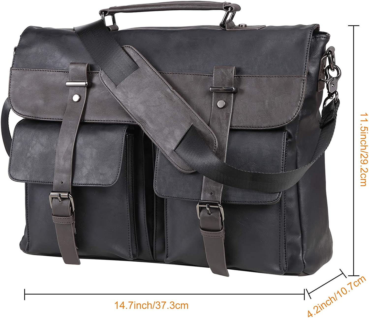 Jaiconfiance Men Leather Briefcase Messenger Bag Shoulder Bag Satchel Mens Leather Briefcase Men Vintage Leather Messenger Bag Color : Gray