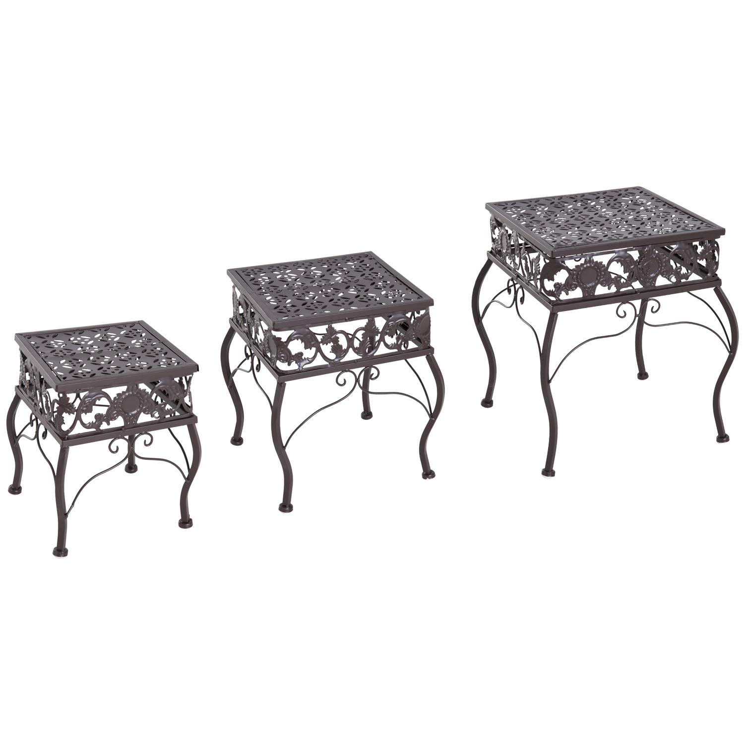 Outsunny 3 Piece Decorative Metal Outdoor Plant Stand Set