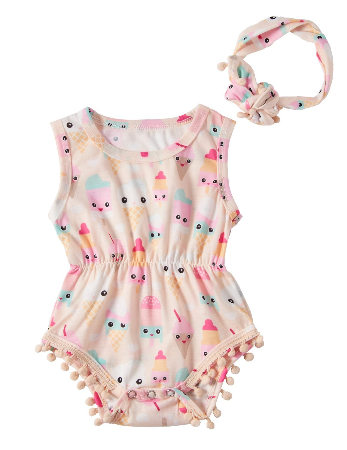 RAISEVERN 12-18Month Baby Girls Ice Cream Print Ruffles Romper Bodysuit with Headband Summer Outfits