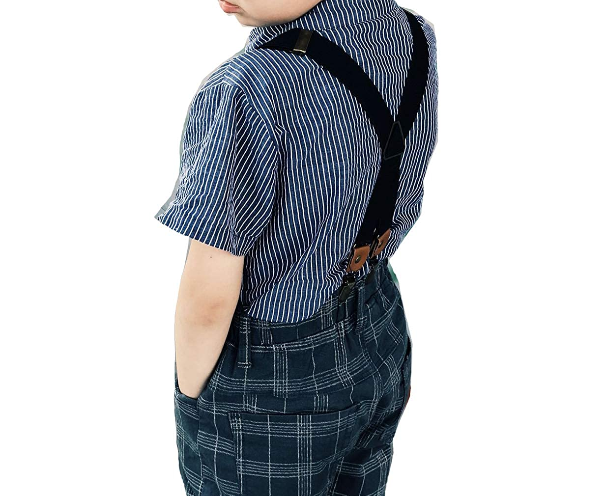 MOHSLEE Boys Kids X Back Elastic Solid Color Suspenders Braces /& 4 Leather Clips