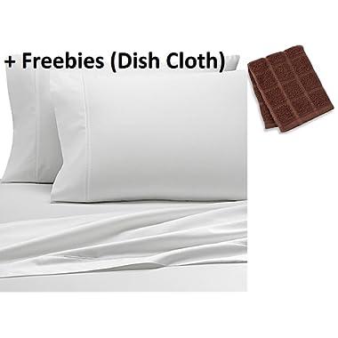 Wamsutta 500-Thread-Count PimaCott QUEEN Sheet Set in WHITE + Freebies (Dish Cloth)