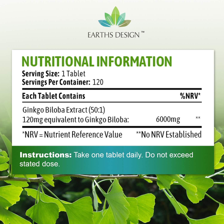 Ginkgo Biloba 6000mg - Extracto de la Hoja del Ginkgo - Para Hombres y Mujeres - Apto Vegetarianos - 120 Pastillas (Suministro Para 4 Meses) de Earths ...