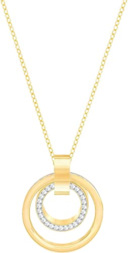 Women Girls Round Hollow White Gold Plated Pendant Simple Elegant Necklace