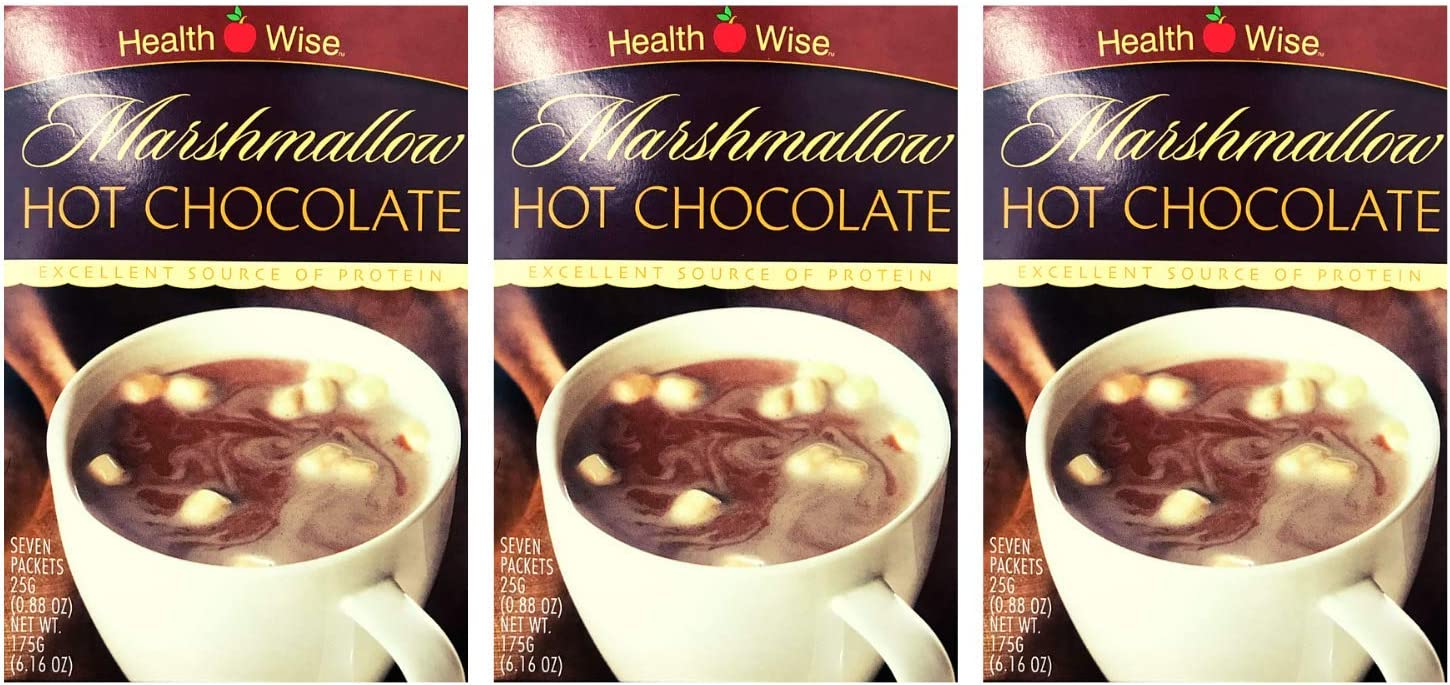 3 Box Value Pack (21 Servings) Healthwise - Marshmallow Hot Chocolate Drink for Any Diet and Post Workout - 15 Grams of Protein - 80 Calories - Low Fat - Hunger Suppressant