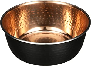 Neater Pet Brands Black Hammered Copper Finish Pet Bowls - Deluxe Luxury Style Dog and Cat Dish (Large)