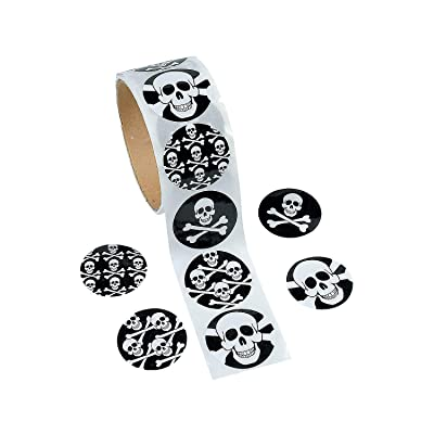 "Fun Express Skull Stickers (100ct) 4 Cool Designs, 1 1/2"" Round Stickers, Halloween, Pirate, Party Favor Accessories, Stationery: Toys & Games"
