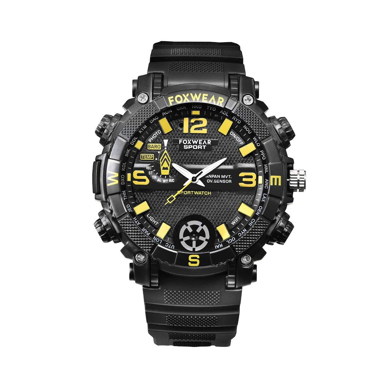 Foxwear sport all'aria aperta intelligente orologio fotocamera WiFi moda illuminazione a distanza LED,nero