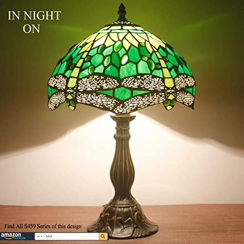 Tiffany Lamp Green Stained Glass Crystal Bead Dragonfly Style Table Reading Light W12H18 Inch LED Bulb Inclued S459 WERFACTORY Lamps Kid Living Room Bedroom Study Office Coffee Bar Desk Bedside Set
