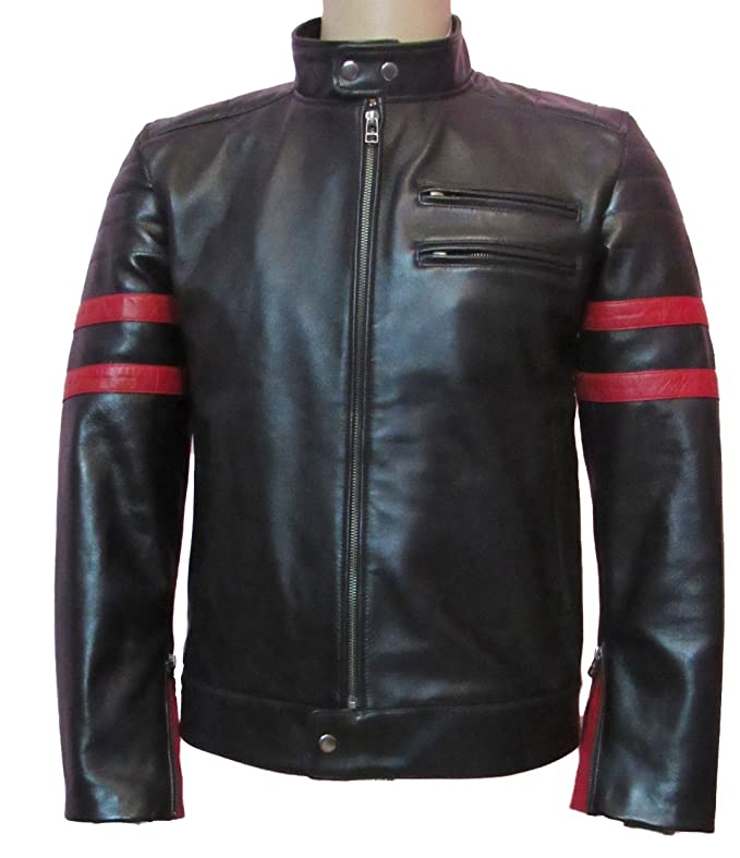 Exemplar Mens Genuine Lambskin Leather Jacket Black KL767 at Amazon Mens Clothing store:
