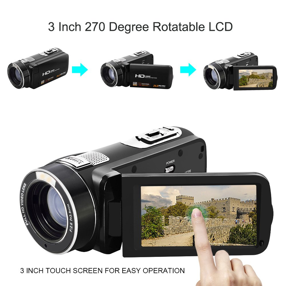 "Camcorder Video Camera Full HD 1080p @30fps Camcorders 3"" Touch Screen Digital Camera Support Webcam with Remoter Controller by COMI (Image #3)"