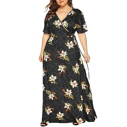 2fe0d753ae305 Women Wrap Tie Maxi Dress - Ladies Plus Size Floral Print V Neck ...