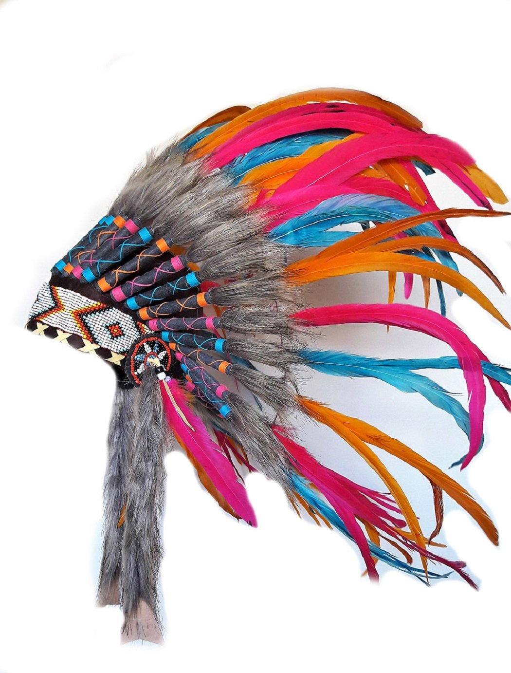 N25 - For 9 To 18 Month Toddler/Baby: Pink, Orange and Turquoise Native American Style Indian Inspired Headdress For The Little Ones !
