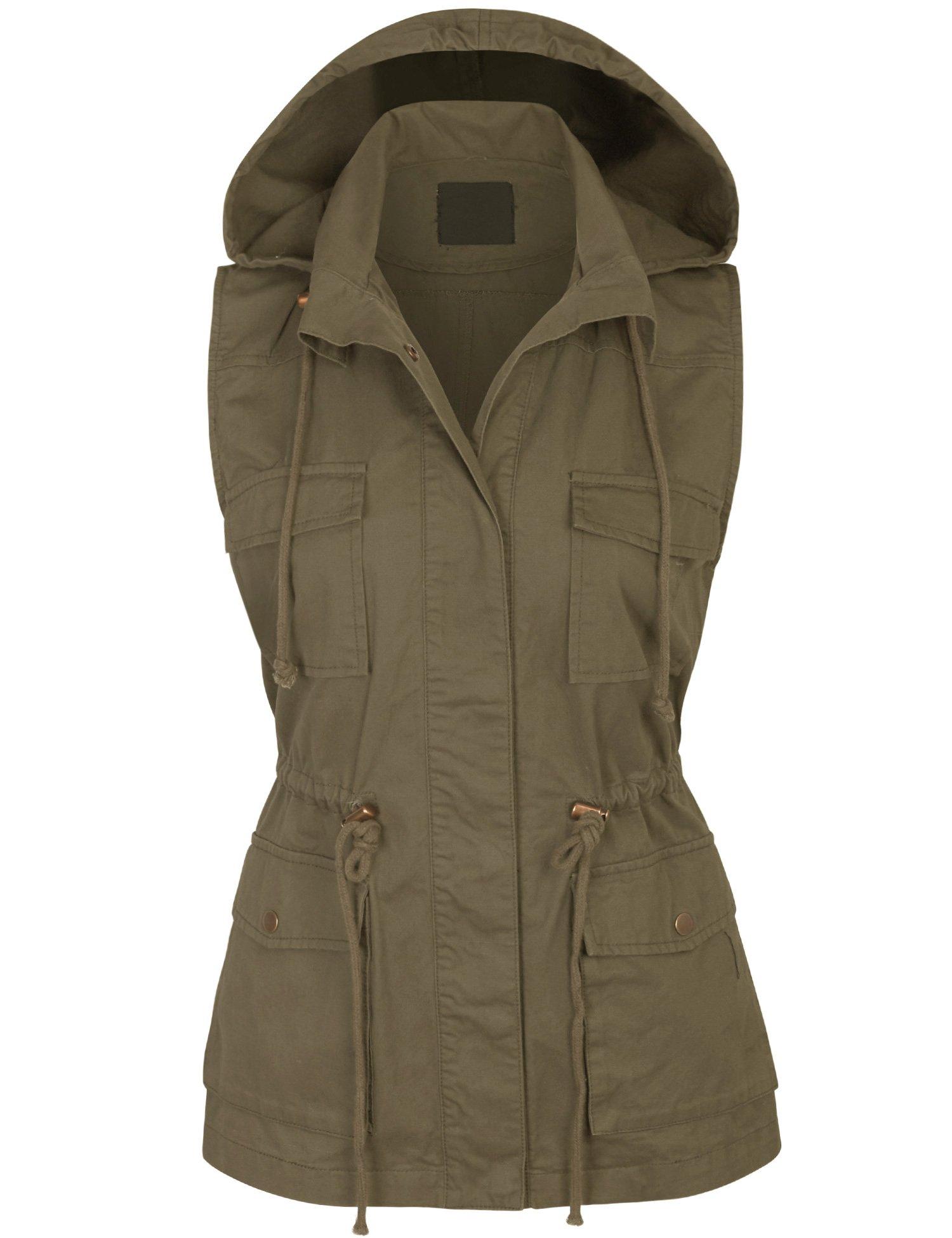 KOGMO Womens Military Anorak Safari Utility Vest with Hood-S-Olive