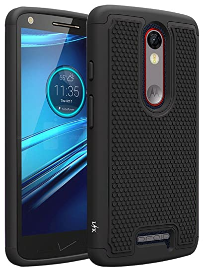 LK Case for Droid Turbo 2, [Shock Absorption] Hybrid Dual Layer Armor  Defender Protective Case Cover for Verizon Motorola Droid Turbo 2 (Black)