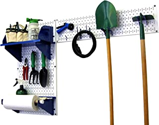product image for Wall Control Pegboard Garden Supplies Storage and Organization Garden Tool Organizer Kit with White Pegboard and Blue Accessories