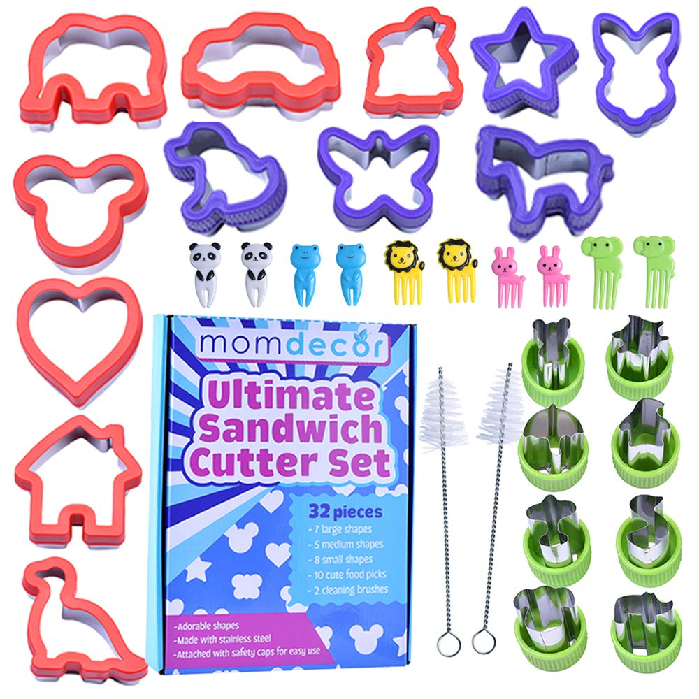 MomDecor Premium Sandwich Cutters Cookie Cutters for Kids. 32pcs Stainless-Steel Set.Cut & Transform Cookie,Bread,Fruit,Cheese & Vegetable into Fun Bites- Food Picks&Cleaning Brushes (S, M, L Sizes))