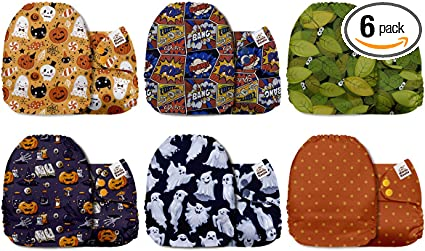 Mama Koala One Size Baby Washable Reusable Pocket Cloth Diapers 6 Pack with 6 One Size Microfiber Inserts Sea Fiesta