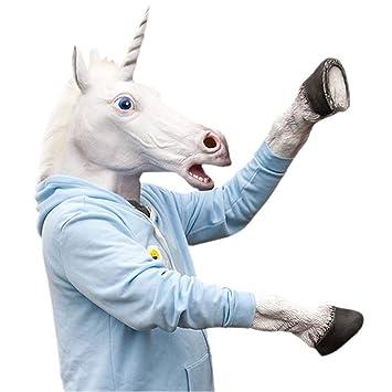 laylala® Diseño Unicornio cabeza máscara de látex + Unicorn Guantes de los cascos