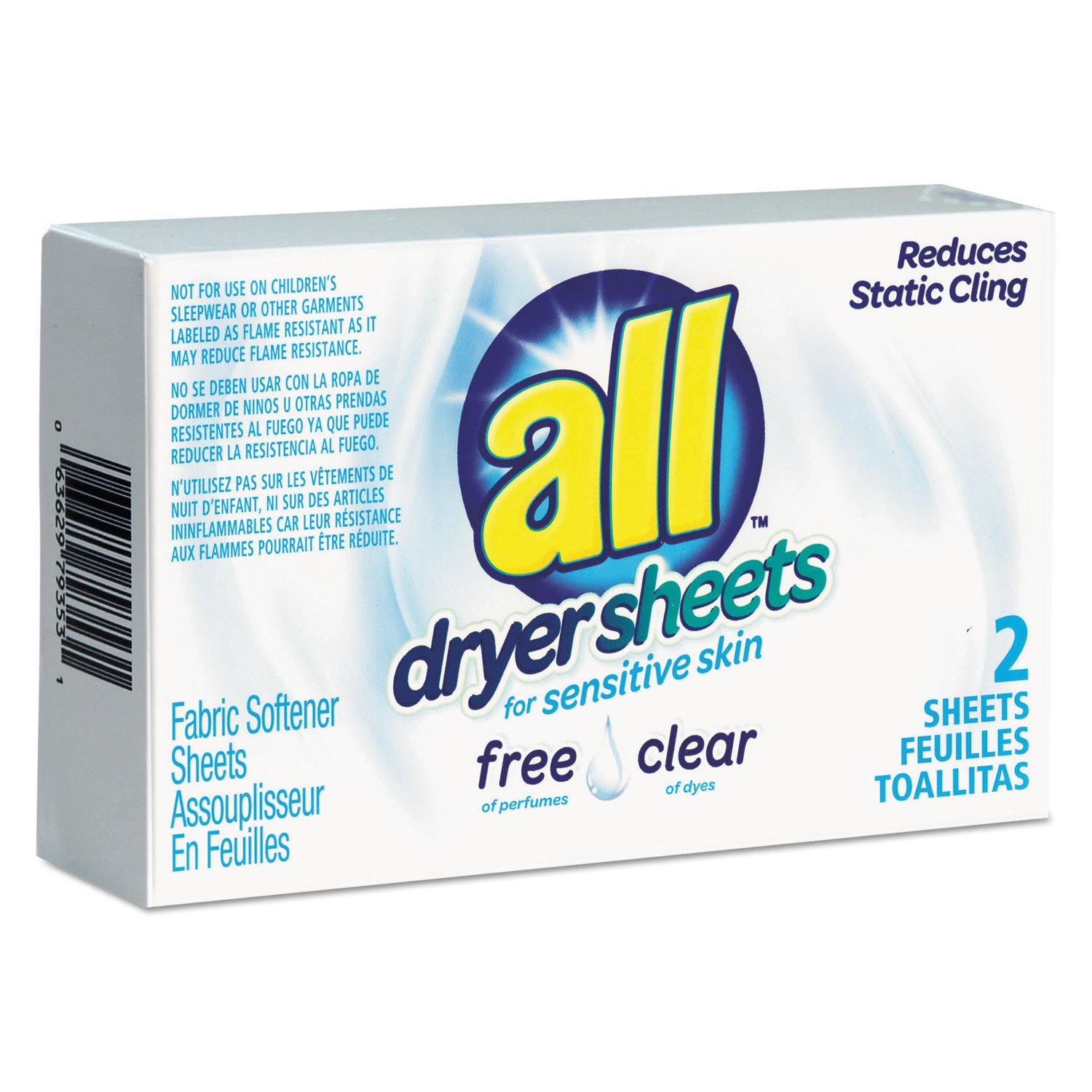 Free Clear Vend Pack Dryer Sheets, Fragrance Free, 2 Sheets/box, 100 Box/carton by Johnson Diversey