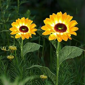 Doingart 2 Pack Solar Powered Sunflower Light Outdoor,Solar Garden Lights,Artificial Sunflower Solar Landscape Lighting for Patio Garden Yard Lawn Path