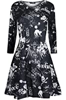 Oops Outlet Women's Long Sleeve Spider Skull Cat Horror Halloween Swing Dress