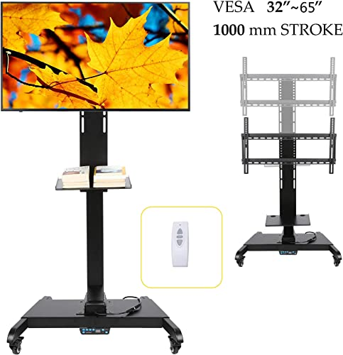 CO-Z Mobile Motorized TV Lift Floor Stands Rolling TV Carts for Flat Screen 32 to 65 Inches TVs with Wheels Shelves Height Adjustable with Remote Controller Motorized Lift for 32 to 65 Inches TVs