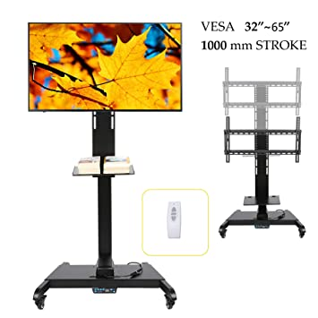 Mobili Per Tv E Stereo.Co Z Mobile Motorized Tv Lift Floor Stands Rolling Tv Carts For Flat Screen 32 To 65 Inches Tvs With Wheels Shelves Height Adjustable With Remote