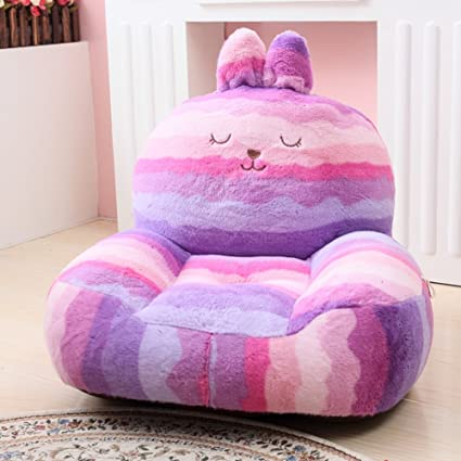 MAXYOYO Super Cute Purple Striped Rabbit Stuffed Plush Toy Bean Bag Chair,  Cute Rabbit Plush