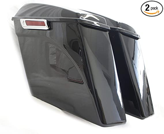 Road Glide Street Glide Ultra-Classic ZXMOTO Unpainted 4 2-into-1 Left Side No Cutout Extended Stretched Saddlebags with Lids Set Fits For 1993-2013 Harley Touring Models Electra Glide Road King