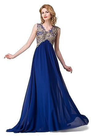 d7f5b9132f4 Babyonlinedress Women s Lacey Neckline Open Back Ruched Waist Evening Dress  £¨Royal Blue