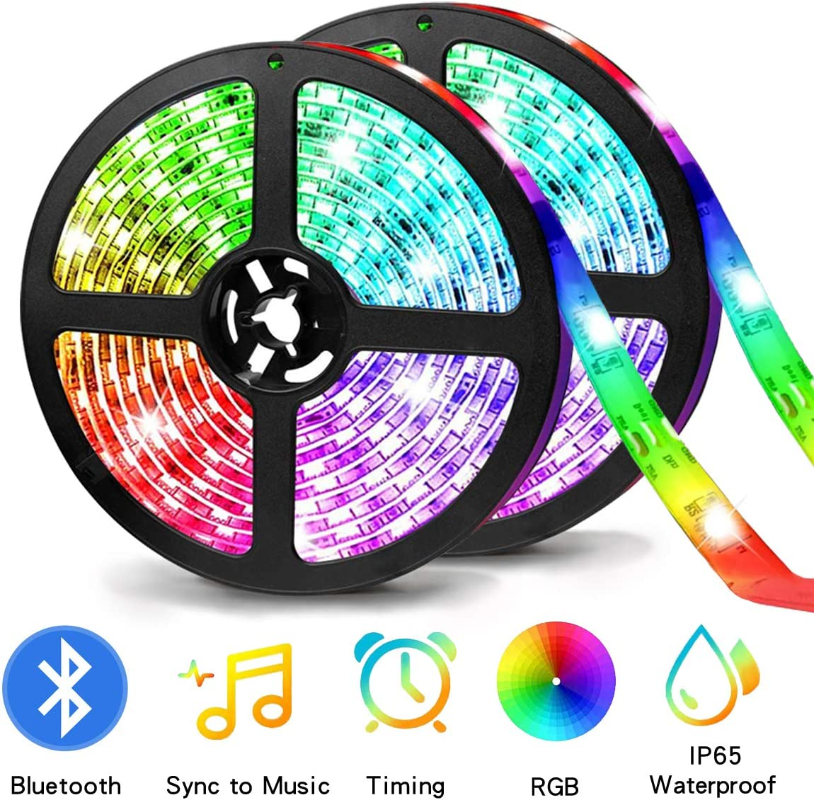 Bluetooth Strip Lights 33Feet(10M),ZHT LED Color Strip Lighting with App Smart Phone Control,RGB Color Changing Rope Light Kit, Flexible LED Strip Lights Music for Party Home