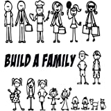 """ALL (17) Your Stick Figure Family Funny Car Vinyl Decal Sticker Figures Range From 5 1/2"""" High By 2 ½"""" Wide, To 3 ½"""" High By 2"""" Wide"""
