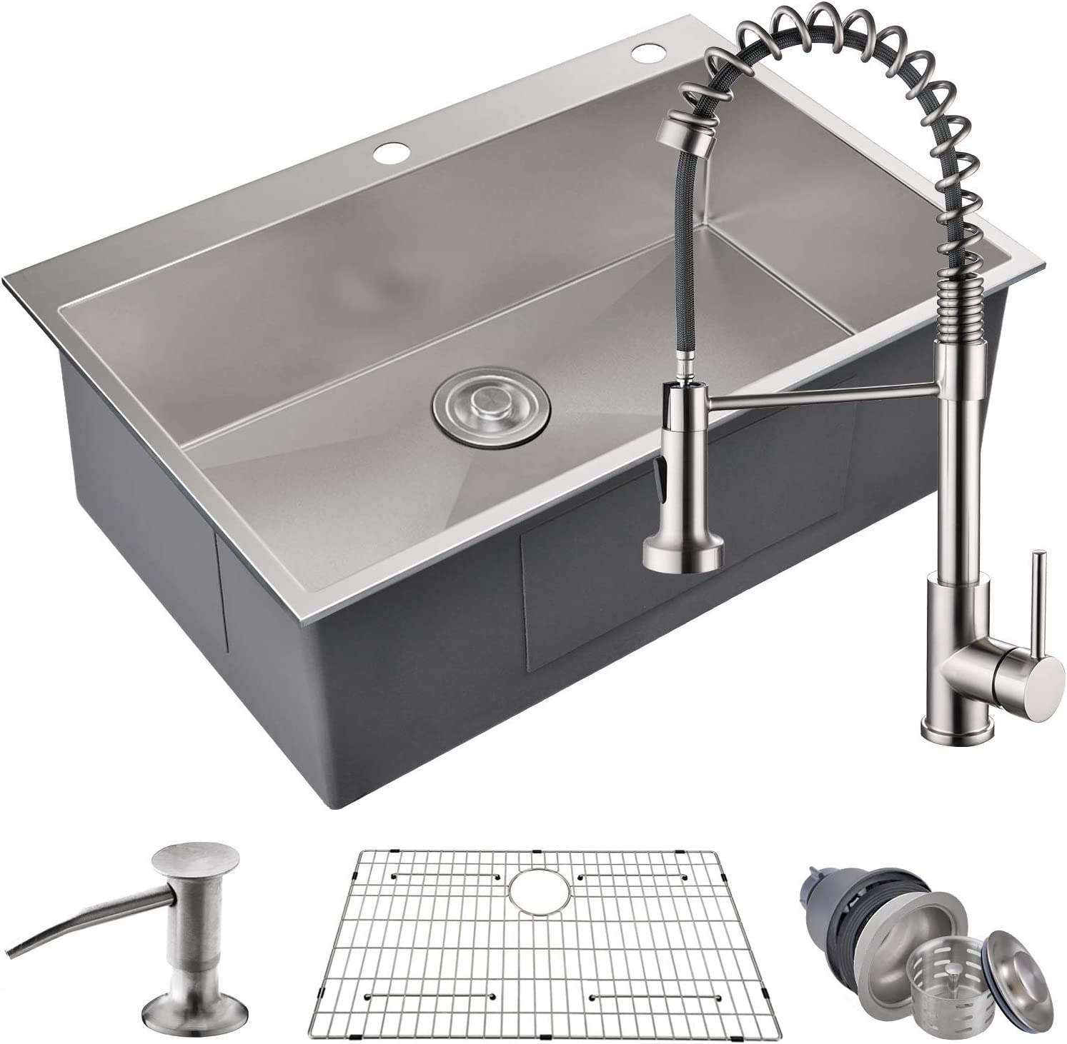 MOWA HTS3322 Pro Series Handmade 33 16 Gauge Stainless Steel Topmount Drop-in Single Bowl Kitchen Sink Pull-Down Faucet Combo, Commercial Deep Sink Spring Faucet, w Basket Strainer Sink Grid