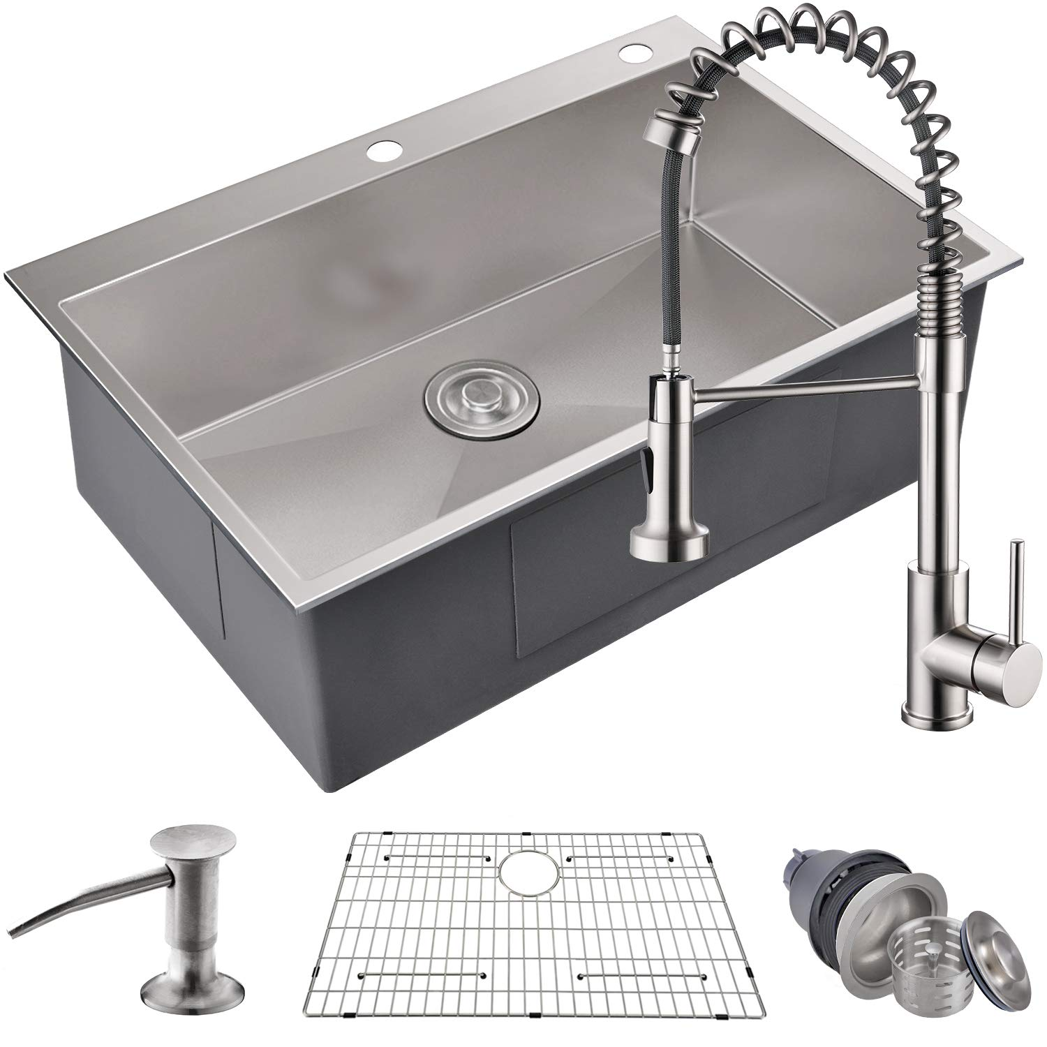 "MOWA HTS3322 Pro Series Handmade 33"" 16 Gauge Stainless Steel Topmount Drop-in Single Bowl Kitchen Sink & Pull-Down Faucet Combo, Commercial Deep Sink + Spring Faucet, w/Basket Strainer & Sink Grid"