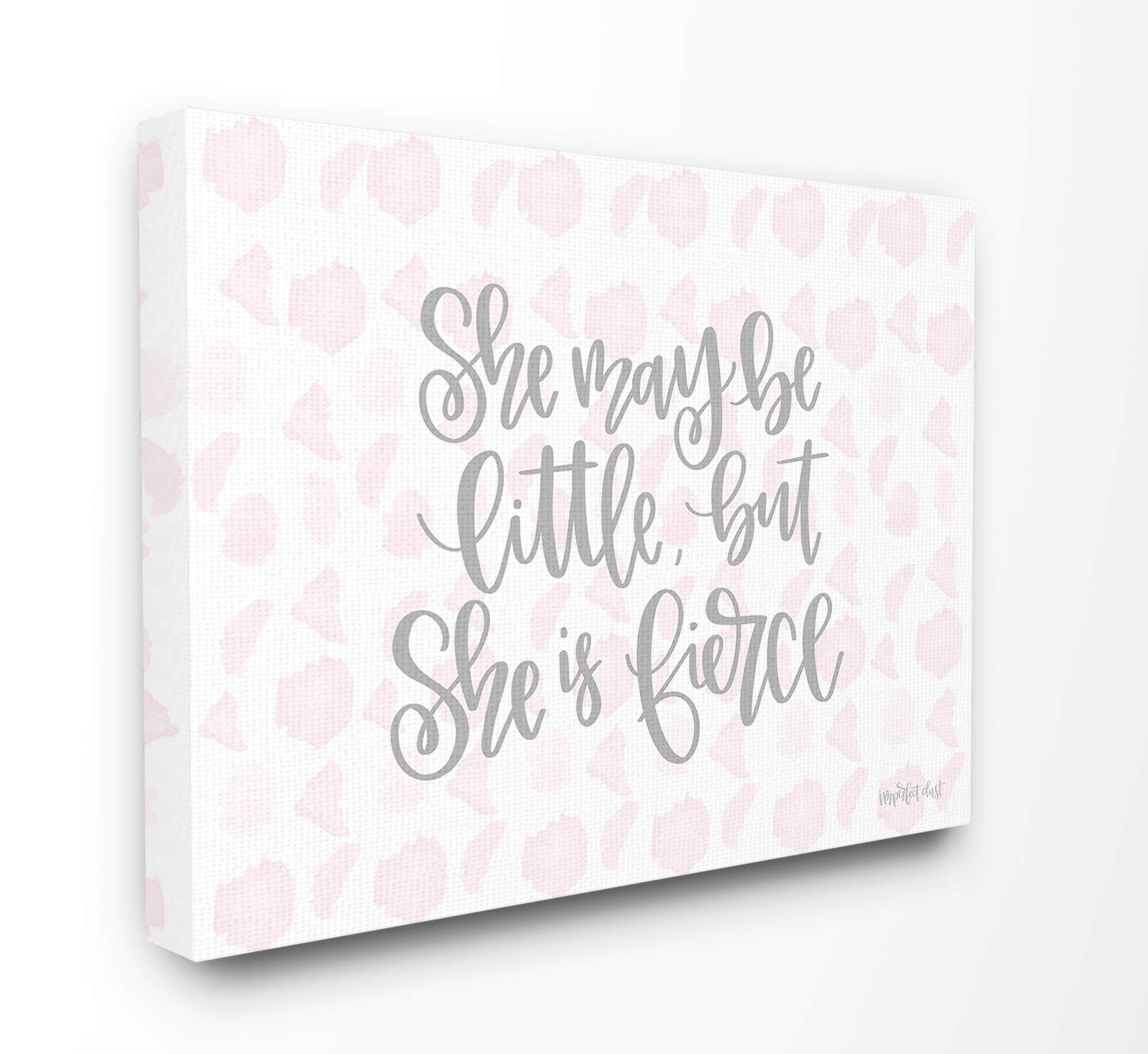 The Kids Room By Stupell She May Be Little But She is Fierce Pink Watercolor Pattern, 16 x 20, Proudly Made in USA by The Kids Room by Stupell
