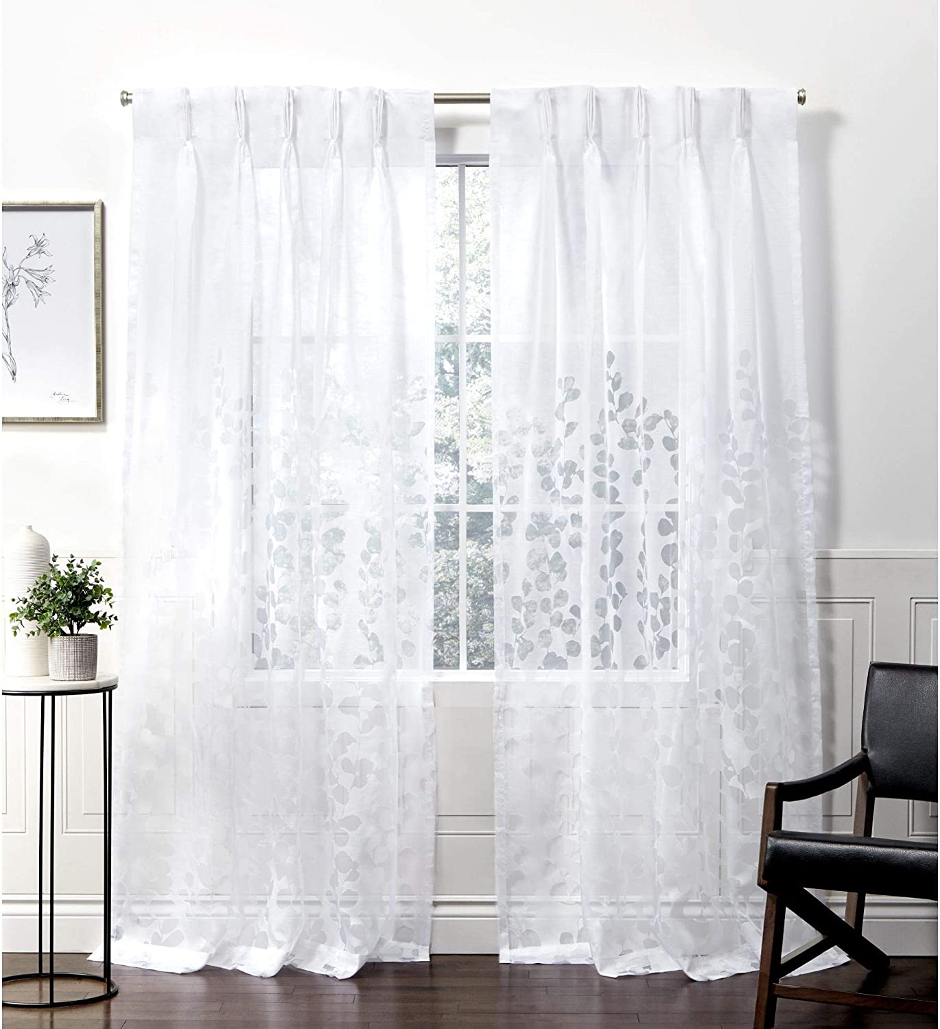Exclusive Home Curtains Wilshire Pinch Pleat Curtain Panel, 54x108, Winter White, 2 Panels