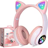 Wireless Headphones TCJJ Cat Ear LED Light Up Bluetooth Foldable Headphones Over Ear w/Microphone for Online Distant Learning