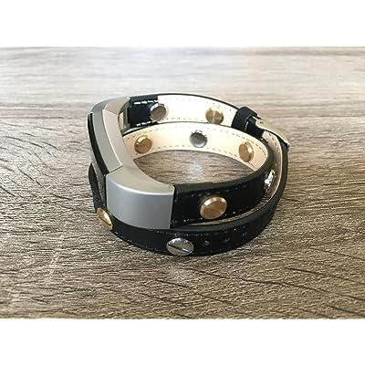 2tours Noir Bande de cuir pour Fitbit Alta et Alta HR fait main écologique Bracelet avec de multiples Bicolore Argenté et Doré rivets en BSI